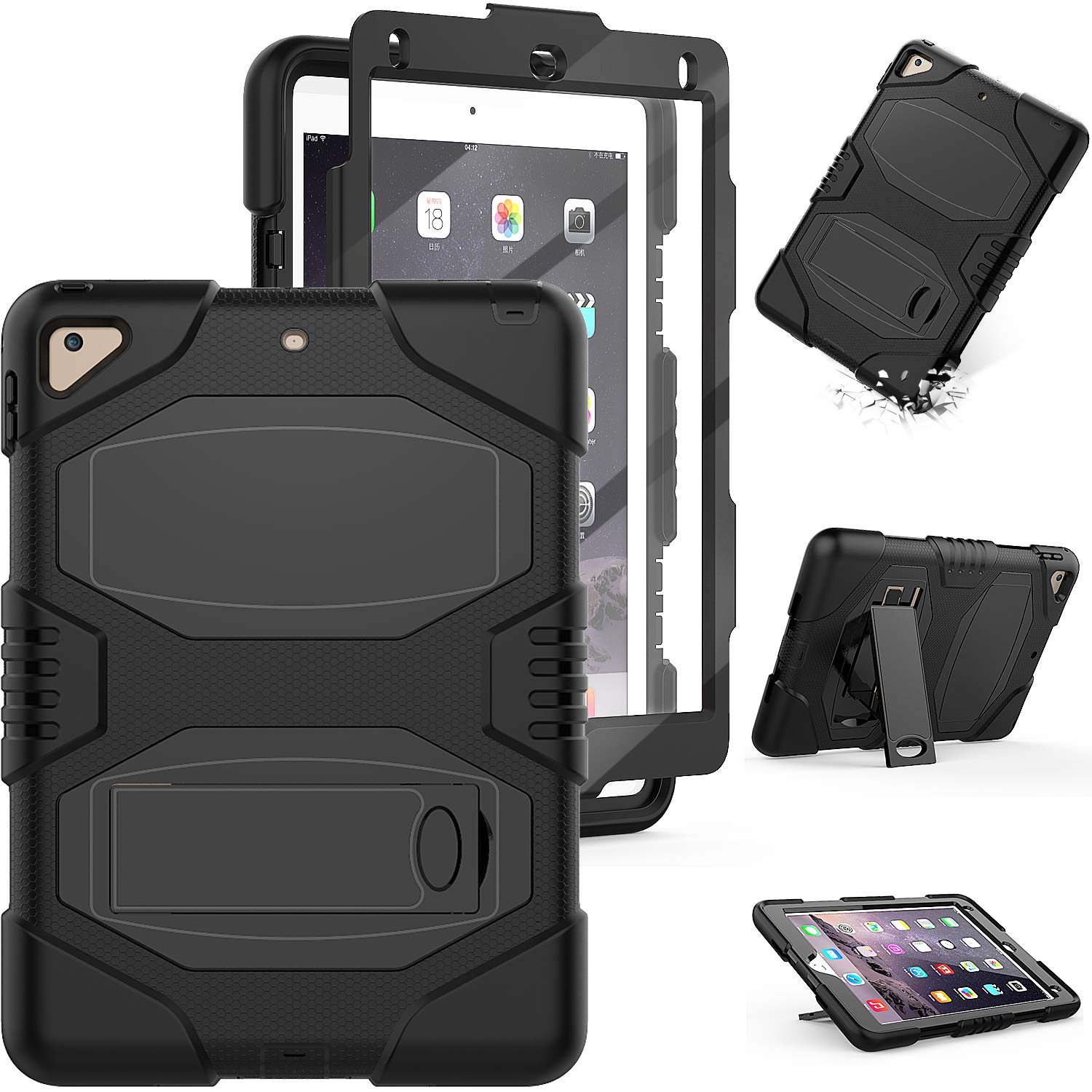 iPad 9.7 5th 6th Generation Case,iPad Pro 9.7 Case, iPad Air 2 Case,Full Body Hybrid Shockproof Rugged Drop Protection Cover with Stand for iPad 9.7 5th 6th Generation A1893/A1954/A1822/A1823 (Black)