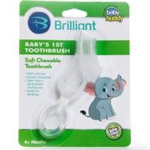 Brilliant Baby's 1st Toothbrush Teether - Premium Silicone First Toothbrush for Babies and Toddlers - Kids Love Them, Clear, 1 Count