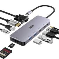 USB C Hub ICZI 11 in 1 USB Type C Hub with Ethernet Port, 4K USB C to HDMI, VGA, USB 3.0 Ports, 100W USB C Power Delivery Charging, SD/TF Card Reader for MacBook Pro Air, Chromebook Pixel Laptops