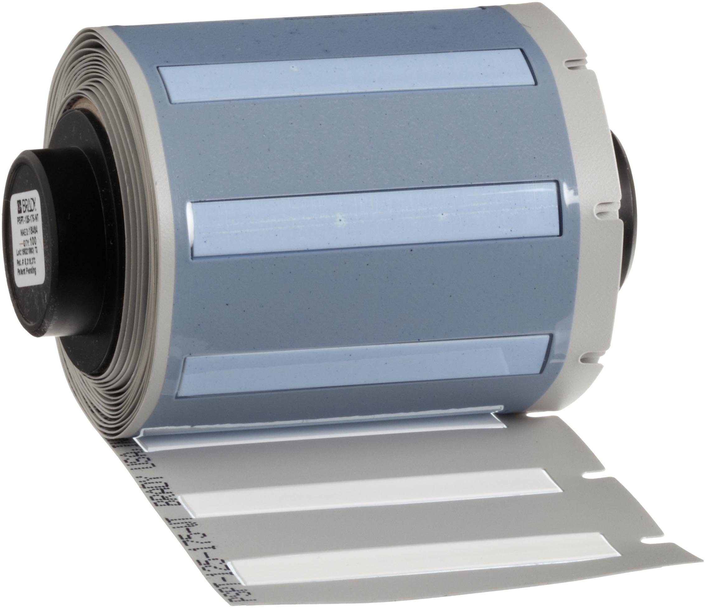 """Brady PSPT-125-175-WT TLS 2200 And TLS PC Link PermaSleeve 0.235"""" Height, 1.765"""" Width, B-342 Heat-Shrink Polyolefin White Color Wire Marker Sleeves (100 Per Roll)"""