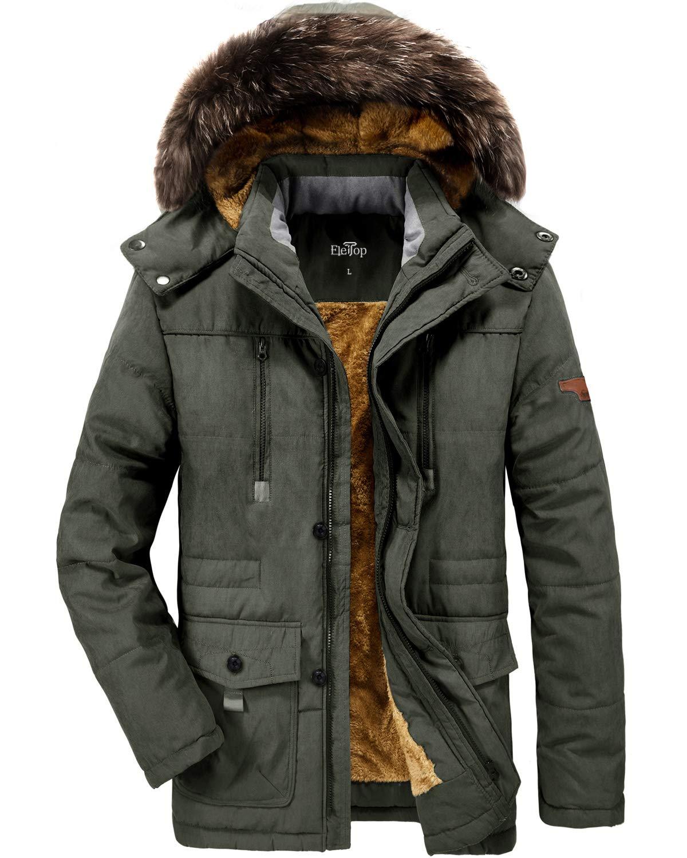 Men's Winter Coats Thicken Parka Jacket Faux Fur Lined Outerwear Warm Cotton Coat with Detachable Hood Outdoor
