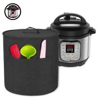 Luxja Dust Cover for 3 Quart Instant Pot, Cloth Cover with Pockets for Instant Pot (3 Quart) and Extra Accessories, Black (Small)