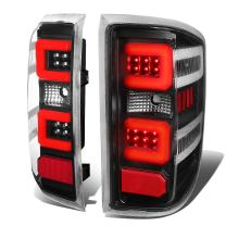Replacement for Silverado/GMC Sierra 1500 2500 3500 HD Red 3D LED Light Bar Tail Lights (Black Clear lens) 3rd Gen