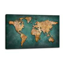 BIL-YOPIN Canvas Wall Art World Map 24x40in Wall Art Decor Painting Pictures Print On Canvas Long Canvas Artwork Prints for Home Living Room Bedroom Decoration Office Framed Ready to Hang