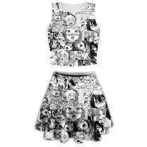 PLstar Cosmos Two Piece Ahegao Women's Pleated Vintage Tank Skirt Print A-line Mini Skirt Set