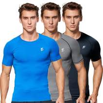 Men Short Sleeve Compression Shirts Sports Running Workout Shirts for Men Gym Baselayer Tops Athletic T-Shirts
