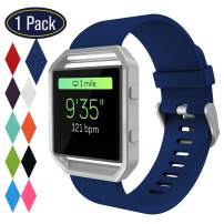 KingAcc Compatible Fitbit Blaze Bands, Soft Accessory Replacement Band for Fitbit Blaze, with Metal Buckle Smartwatch Strap Women Men (1-Pack, Rock Blue, Small) [No Frame]