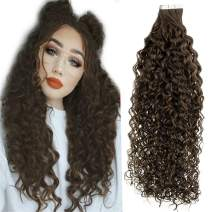 """LaaVoo Tape in Hair Extensions Real Human Hair Brown Skin Weft Tape in Extensions Curly Hair Double Side Tape on Human Hair Extensions Dark Brown Tape in Curly Hair Extensions Remy 50g 20Pcs 22"""""""