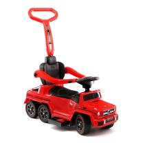 Moderno Kids Mercedes G63 AMG 6X6 Toddler Push Car Stroller Convertible to Foot to Floor Toy or Battery Powered Children Electric Ride On + Integrated MP3 Music Player + Working LED Lights (Red)