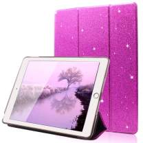 """FANSONG iPad 9.7 2018/2017 Case, Bling Glitter PU Leather Magnetic Flip Trifold Stand Cover Sparkle Auto Sleep/Wake Lightweight Ultra Thin Case for Apple iPad Air / Air2 9.7"""" (Purple)"""