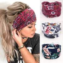 Jeairts Boho Bandeau Headbands Wide Running Hair Bands Knot Thick Turban Head Wraps Elastic Cotton Fabric Hair Scarfs Stylish Hair Accessories for Women and Girls(Pack of 3)