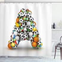 """Ambesonne Letter a Shower Curtain, Sports Balls Stacked to Build The First Letter of The Alphabet Capital, Cloth Fabric Bathroom Decor Set with Hooks, 70"""" Long, Orange White A"""