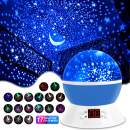 MOKOQI Modern Rotating Moon Sky Projection LED Night Lights Toys Table Lamps with Timer Shut Off & Color Changing for Baby Girls Boys Bedroom Decorative Lights Gift Baby Nursery Lights(Blue)