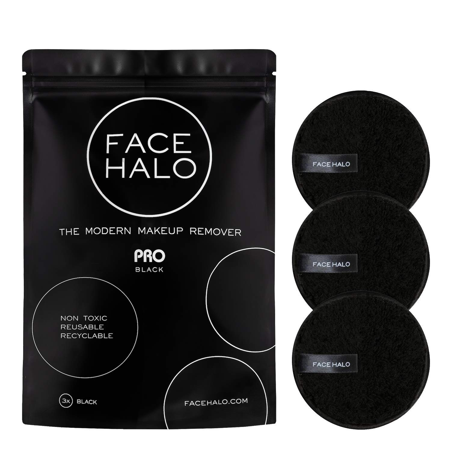Face Halo | Reusable Makeup Remover Pads, Round Makeup Remover Pads for Heavy Makeup & Masks - Microfiber Makeup Remover Wipes for Mascara, Eye Shadow, Foundation (PRO - 3 Pack)