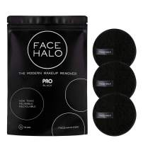 Face Halo   Reusable Makeup Remover Pads, Round Makeup Remover Pads for Heavy Makeup & Masks - Microfiber Makeup Remover Wipes for Mascara, Eye Shadow, Foundation (PRO - 3 Pack)