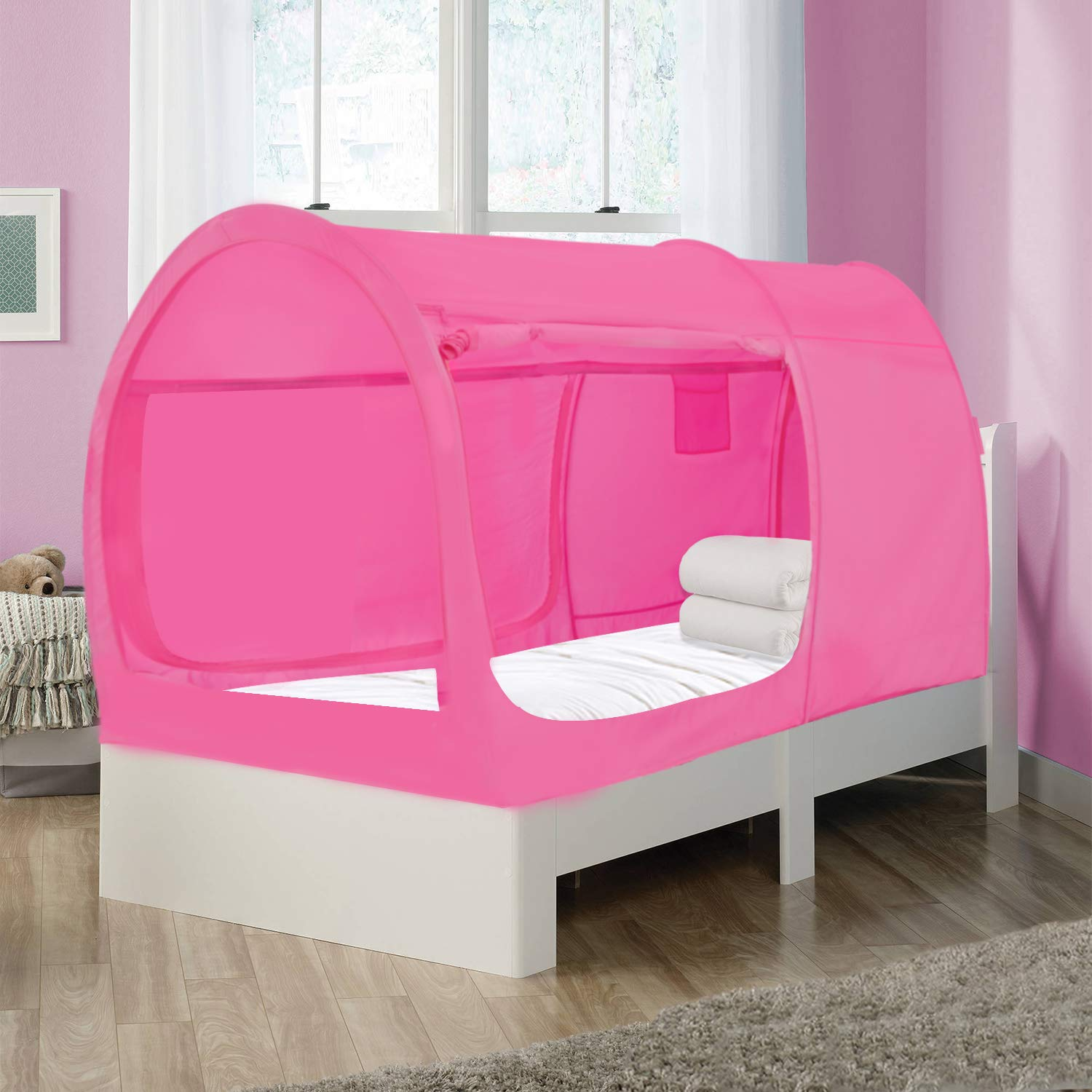 Alvantor Bed Canopy Bed Tents Dream Tents Privacy Space Twin Size Sleeping Tents Indoor Pop Up Portable Frame Curtains Breathable Pink Cottage Mattress Not Included Reducing Light