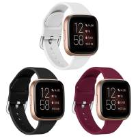 Aresh Bands Compatible with Fitbit Versa 2 Bands/Versa/Versa Lite/Versa SE,Soft Silicone Band Wristbands Strap Accessories for Women Men (Black+White+Sangria, Large)