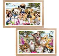 5D Cat Dog Diamond Painting Garden Puppies & Kittens Full Drill by Number Kits, Ginfonr Paint with Diamonds Craft Kit Embroidery Rhinestone Art Great Gift Idea(12'' x 16'', 2 Pack)