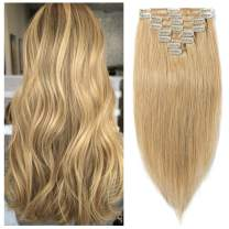 S-noilite Clip in Remy Human Hair Extensions Full Head Long length Soft Real Silky Straight for Beauty 8 Pieces/Set 16 Inch-90g #27 Dark Blonde