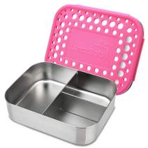 LunchBots Medium Trio II Snack Container - Divided Stainless Steel Food Container - Three Sections for Snacks On The Go - Eco-Friendly, Dishwasher Safe, BPA-Free - Stainless Lid - Pink Dots
