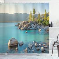 """Ambesonne Lake Shower Curtain, Pastoral Spring Time Scenery in Provincial Countryside Lake Beach Shallow Water Theme, Cloth Fabric Bathroom Decor Set with Hooks, 70"""" Long, Blue Grey"""