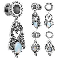 SUPTOP Opal Dangle Gauges Retro Gemstone Dangling Plugs and Tunnels Stretched Ears Size 2g to 1-3/16 inch
