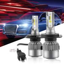 HOLOON H4 Led Headlight Bulb, 8000LM Extremely Bright DOB Chips (COB Upgraded) Car 9003 LED Headlight Bulbs All-in-One Conversion Kit, Halogen/HID Bulbs Replacement - 6000K Cool White Light