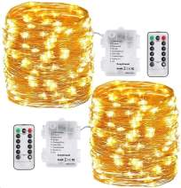 DeepDream 2 Pack String Light 120 LEDs 39ft Battery Powered Copper Wire Fairy Light 8 Modes, Remote Control with Timer Option for Wedding Party Home Christmas Decoration