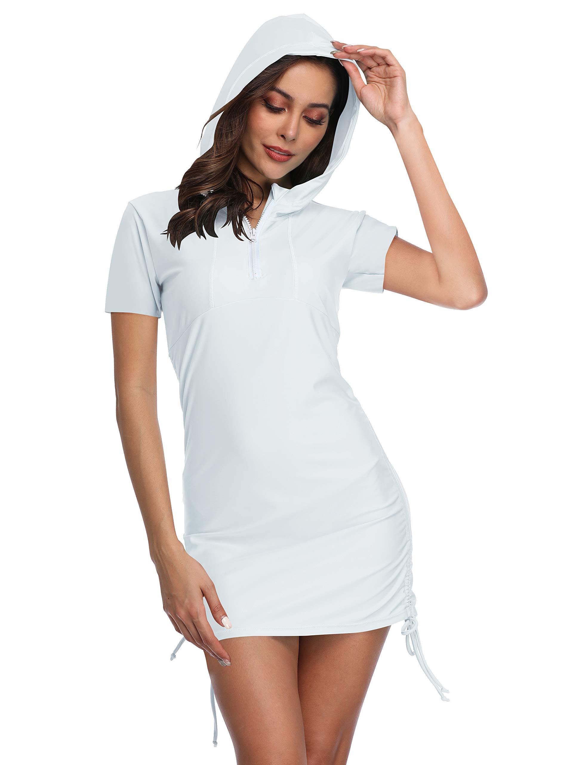 Women's UV Sun Protection Short Sleeve Hooded Rash Guard Half-Zip Side Adjustable Solid Swimsuit Top