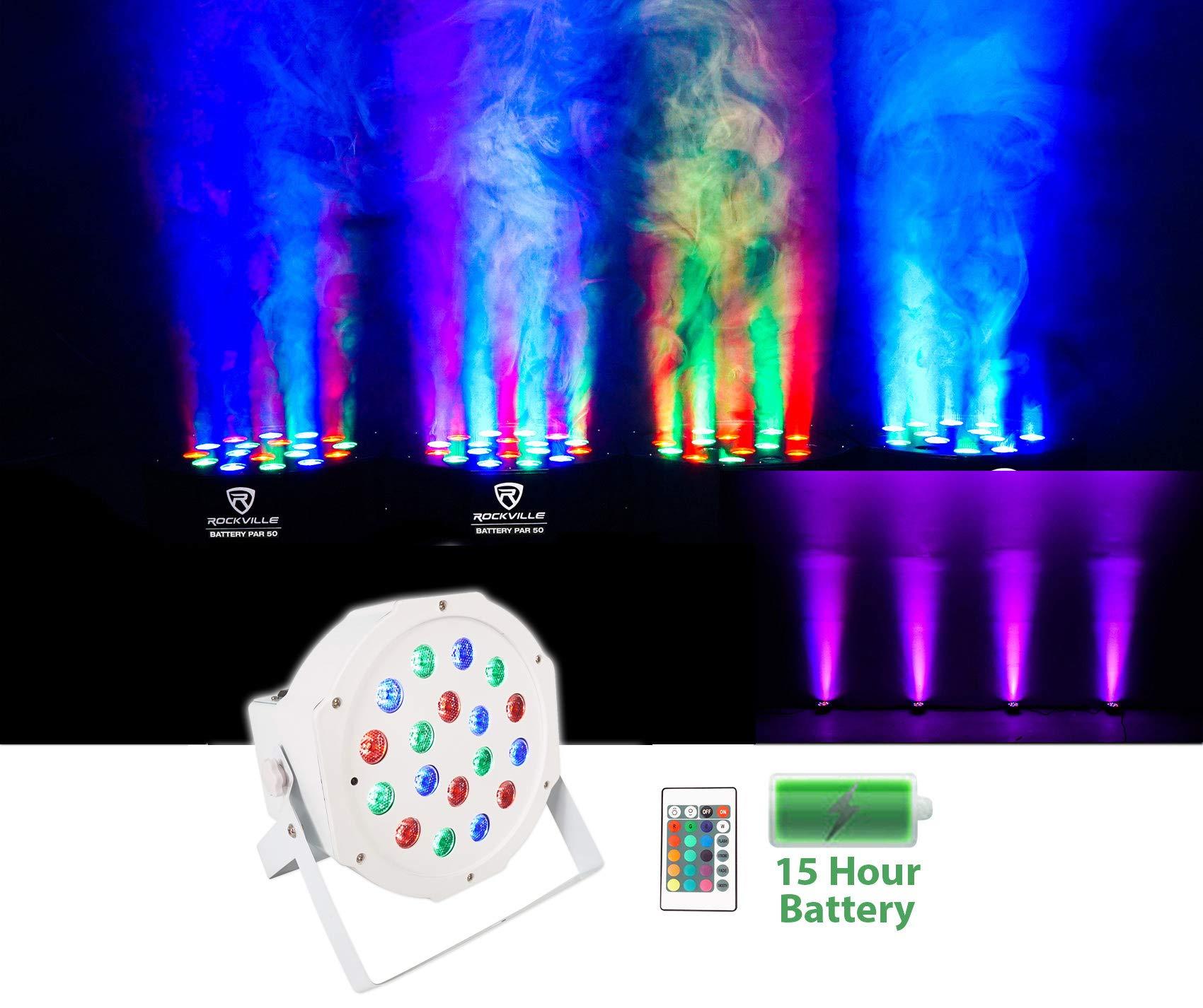 Rockville Battery PAR 50 White Rechargeable LED DMX DJ Club Wash Up-Light+Remote