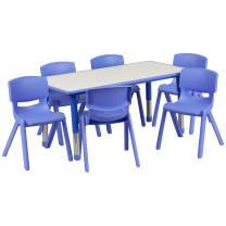 Flash Furniture 23.625''W x 47.25''L Rectangular Blue Plastic Height Adjustable Activity Table Set with 6 Chairs