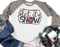 Let it Snow T Shirt Women Christmas Funny Snowflake Graphic Print 3/4 Raglan Sleeve Baseball Tee Tops