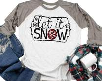 Let it Snow T Shirt Women Christmas Funny Snowflake Graphic Print 3/4 Raglan Sleeve Baseball Tee Tops