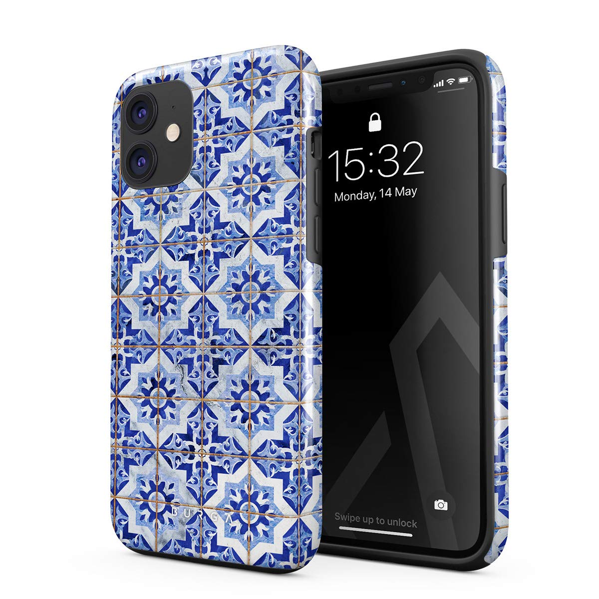 BURGA Phone Case Compatible with iPhone 11 - Blue City Moroccan Tiles Pattern Mosaic Cute Case for Girls Heavy Duty Shockproof Dual Layer Hard Shell + Silicone Protective Cover