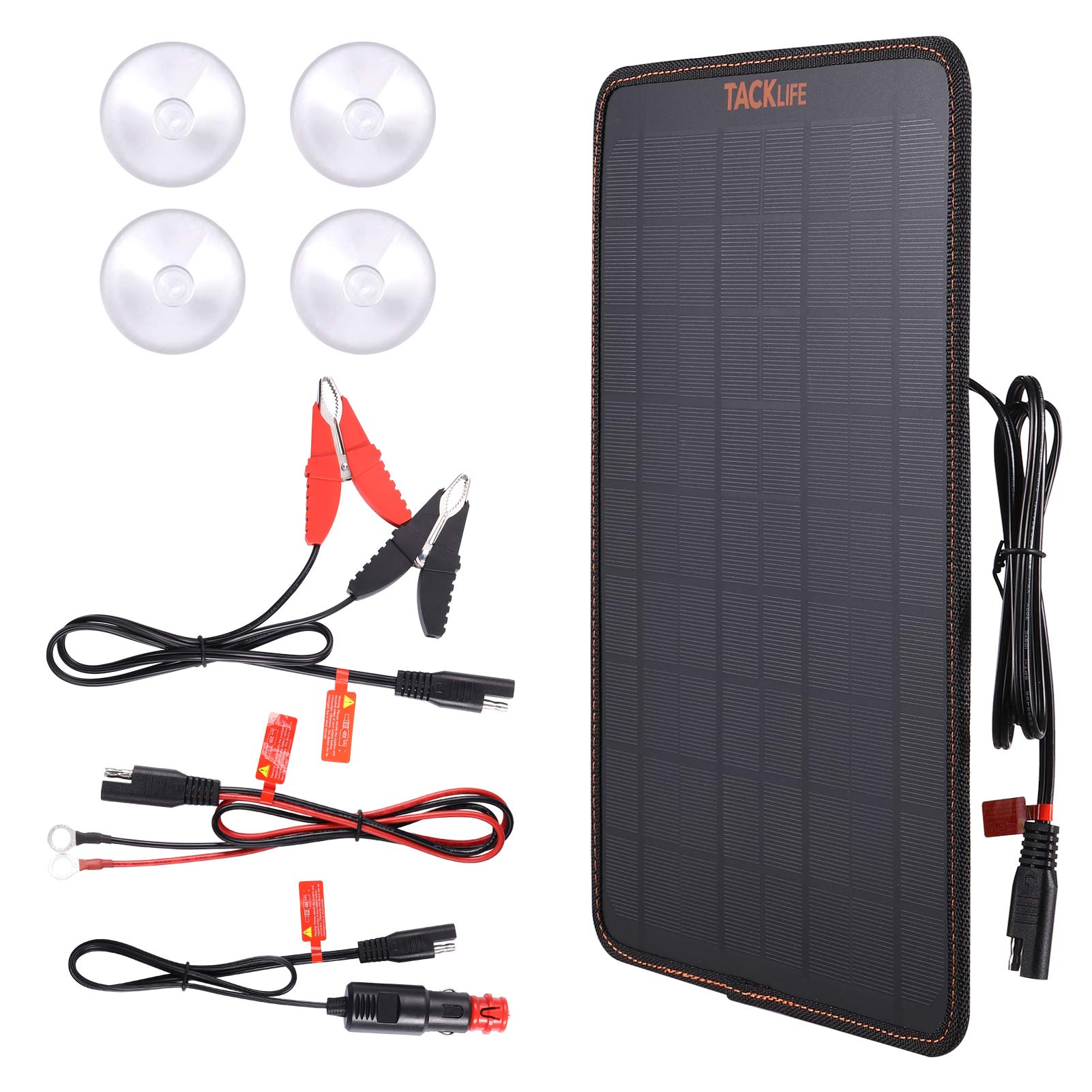 TACKLIFE Solar Panel, Portable Solar Charger, 18 Volt Notebook-Sized Car Battery Charger & Maintainer 10W Power Battery Charging with Alligator Clip Cable for Car, Boat, Motorcycle, Tractor, SP101