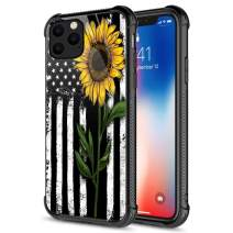 iPhone 11 Pro Max Case, Tempered Glass iPhone 11 Pro Max Cases Sunflower American Flag,Fashion Cute Pattern Design Cover Case for iPhone 11 Pro Max 6.5-inch Sunflower Flag