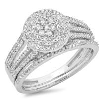 Dazzlingrock Collection 0.55 Carat (ctw) 14K Gold Round Cut Diamond Ladies Split Shank Bridal Cluster Engagement Ring Set 1/2 CT