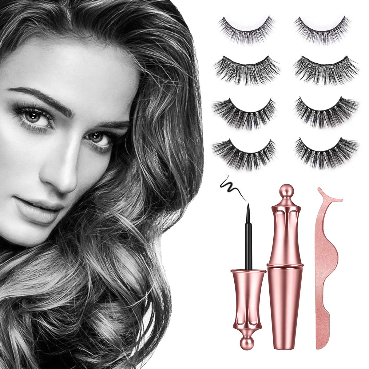 Magnetic Eyelashes with Eyeliner - Magnetic Eyeliner and Magnetic Eyelash Kit - Eyelashes With Natural Look - Comes With Applicator - No Glue Needed(4 Pairs)