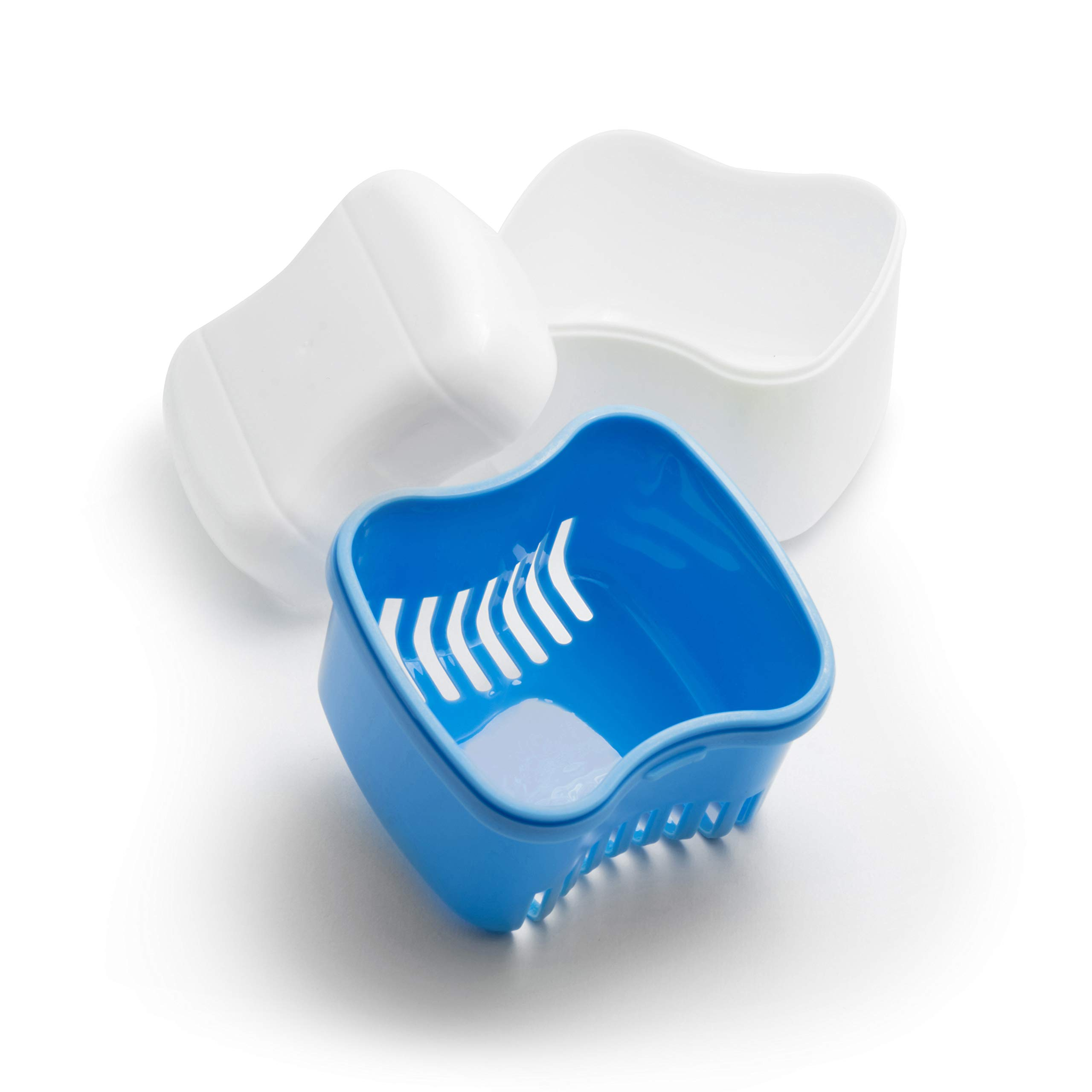 Retainer-Denture Bath-Dental Appliance Cleaning Case Size Standard with Easy Grip – Color Sky Blue