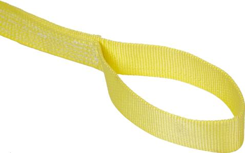 "Mazzella EE2-901 Nylon Web Sling, Eye-and-Eye, Yellow, 2 Ply, 19' Length, 1"" Width, 6"" Flat Eyes, 3200 lbs Vertical Load Capacity"