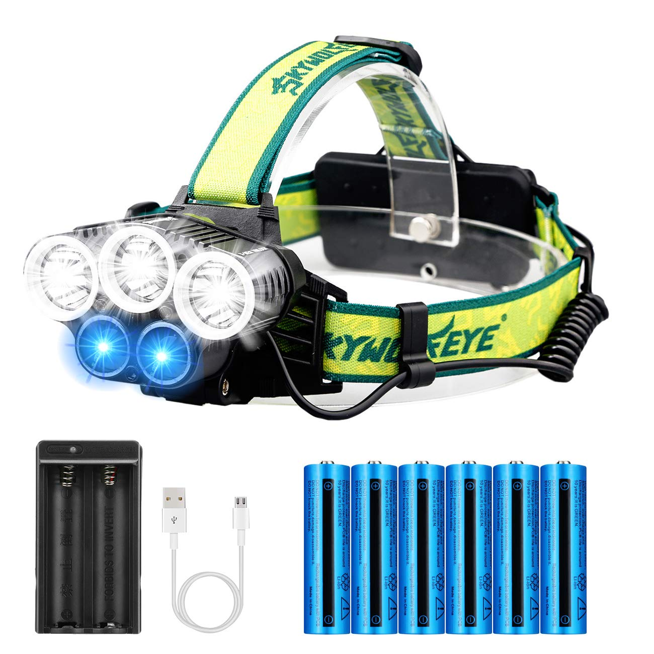 5 Led Headlamp Headlight Flashlight Kit,Blue Light,High Lumens,Usb Rechargeable,5 Modes, with 6Pcs 18650 3.7v 9900mAh Rechargeable Batteries and Rechargeable Battery Charger for Night Fishing Outdoor