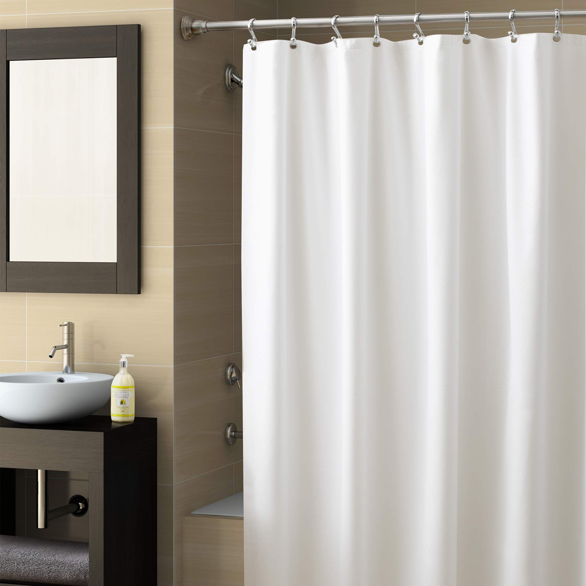 """EXCELL Home Fashions Best Quality Vinyl Shower Curtain Liner, Mold and Mildew-Resistant Water-Repellent Bath Liner with suction cups for Master Bathroom,Kid's Bathroom, Guest Bathroom, 70""""x78"""", White"""