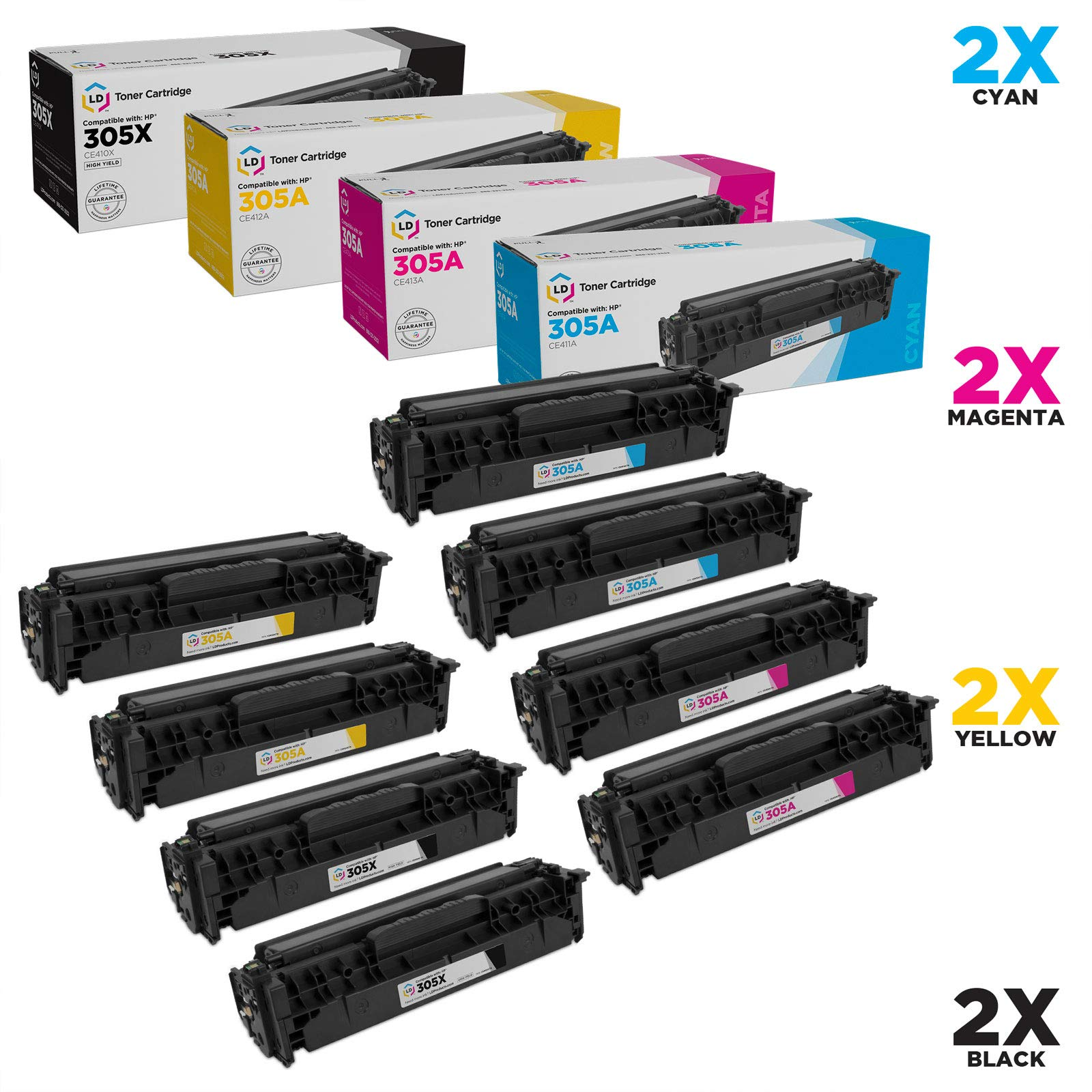 LD Remanufactured Toner Cartridge Replacements for HP 305A & 305X High Yield (2 Black, 2 Cyan, 2 Magenta, 2 Yellow, 8-Pack)
