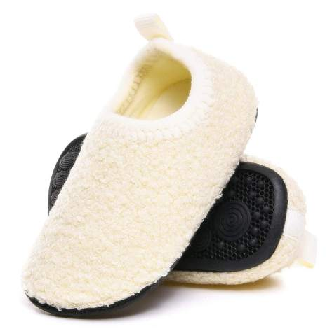ditont Toddler Boys Girls Rubber Sole Indoor House Slippers Lightweight Socks Shoes