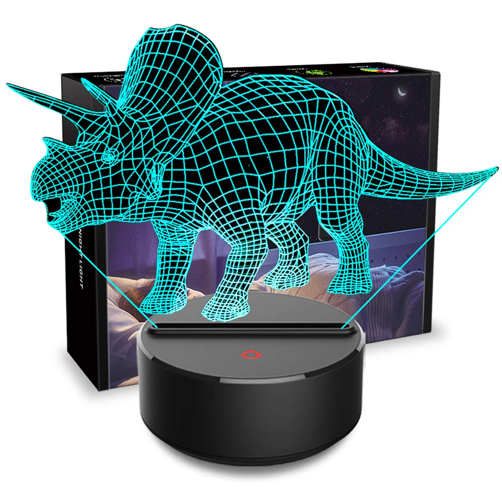 3D Night Light Dinosaur Triceratops 3D Lamp Optical Illusion Nightlights Touch Switch Bedside Lamp 7 Colors Changing LED Lamps Birthday Gifts for Girls Kids Children Boys Adults (N01 Triceratops)