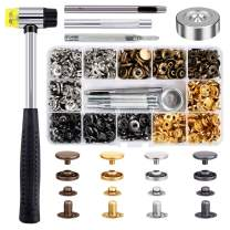 Qfun 120 Set Snap Fasteners Kit for Leather 12mm Metal Button Snaps Press Studs with 4 Setter Tools, 1 Hammer, 4 Color Leather Snaps for Clothes, Jackets, Jeans Wears, Bracelets, Bags