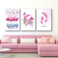 """wall26 - 3 Panel Canvas Wall Art - Flamingo Triptych Series   Floral Pink Watercolor Memories - Giclee Print Gallery Wrap Modern Home Decor Ready to Hang - 16""""x24"""" x 3 Panels"""