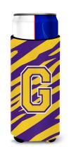 Monogram - Tiger Stripe - Purple Gold  Letter G Ultra Beverage Insulators for slim cans CJ1022-GMUK