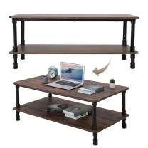 AOBABO Wide Rectangle Modern Industrial Coffee Table in Walnut Brown with 4 Legs, 1 Shelf, 2 Tiers Sofa Coffee Desk for Living Room, Family Room