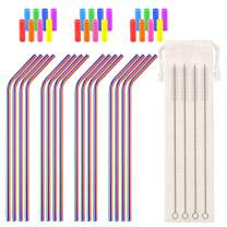 Metal Straws Reusable Stainless Steel Straws Curved Bent Rainbow Colored Drinking Straws for 30 32oz Tumblers, with 24 Silicone Tips 4 Cleaner Brush 1 Pouch (10.5inch All Bent)
